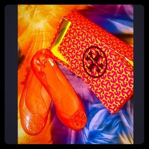 Tory Burch Orange Reva Ballerina Flats